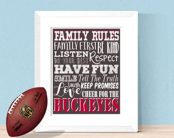 The Ohio State Family Rules 8x10 16x20 Digital - Home Decor Office Decor Man Cave Home - Buckeyes, Ohio State University, Christmas Gift