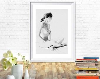 Woman print, woman art, woman drawing, woman sketch, prints black and white, prints for bedroom, black and white prints, printable wall art