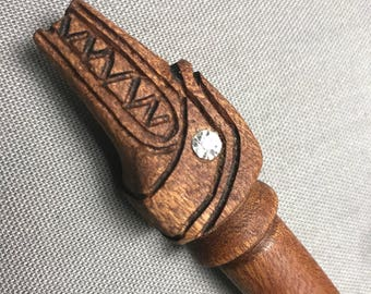 Wood magic wand No. 425 Quetzalcoatls Cosplay costume fairy princess Druid Wiccan potter LARP Fairie pagan witch wizard witchcraft fantasy.