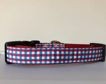 Red, White and Blue Plaid Collar