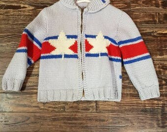 Child's Cowichan-Style Grey Hockey Theme Knit Sweater