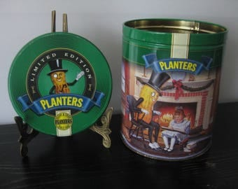 1997 Planters Peanuts Tin / Green Limited Edition Planters Peanuts Tin / Mr. Peanut Retro Ad Tin / Planters Peanuts Collectible