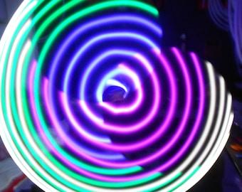 Prism LED Hula Hoop - 20 Blue, Green, Pink, White Solid Color LEDs - Rechargeable Li-Ion