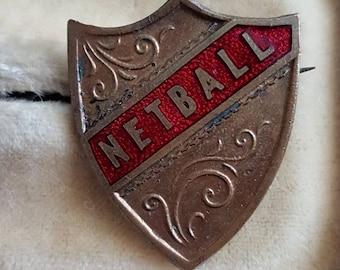 Vintage school Prefect NETBALL green enamel badge pin