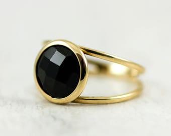 Black Onyx Ring, Onyx Gold Ring, Black Onyx Gold Ring, Black Gemstone Ring, Black Stone Ring, Double Gold Ring, Valentines Day, GR0232