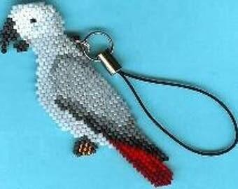 Congo Grey Parrot Charm - Brick Stitch Beading Pattern