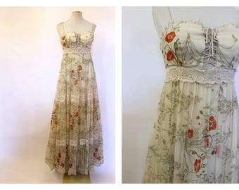 1970's Hippie Maxi Dress Floaty floral summer
