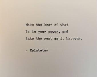 Epictetus love quote hand typed on antique typewriter gift girlfriend boyfriend husband wife wedding present bi
