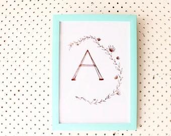 Letter + floral wreathe foil PRINT (A4)