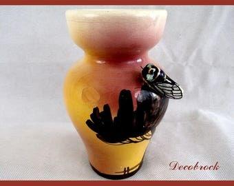 Vase vintage provence cicada signed Sicard decoration Provencal vintage France vintagefr gift for her