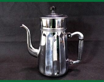 Old copper chromed Alsa coffee pot kitchen vintage, vintage, vintage France tableware, vintagefr