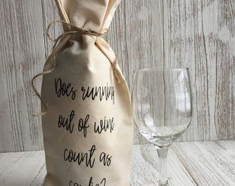Does running out of wine count as cardio? Canvas Wine Bag, Wine Bag, Funny Wine Bag, Wine Gift