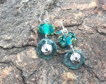 Earrings, glass earrings, lampwork earrings, sterling silver, lampwork bead earrings, roman glass earrings, dangle earrings, beach earrings