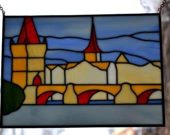 Prague Stained glass panel The Charles Bridge Tiffany method. Suncatcher window pendant. Handmade wall hanging. Glass painting. Decor.