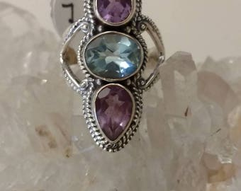 Amethyst and Blue Topaz Ring Size 7