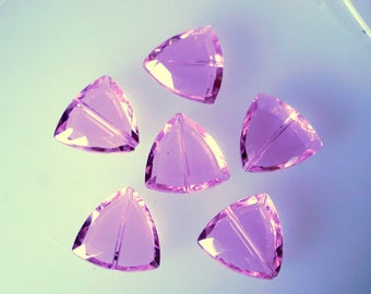 Lilac colored triangle glass beads