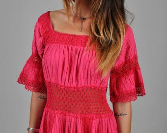 Vintage 1970's Handmade Pink Crochet Hippie Maxi Dress   S5