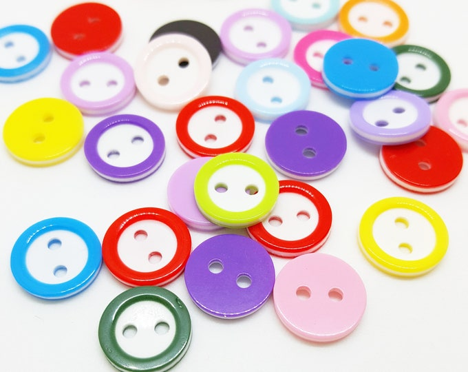 Mixed bag of colourful mini buttons