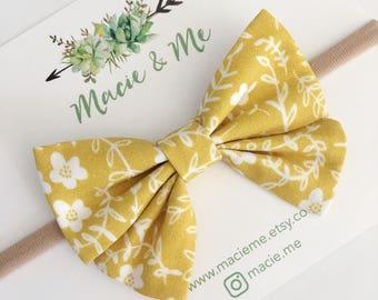 Mustard Floral Sailor Bow / Sailor Bow / Nylon Headband / Girls Bow Headband / Rifle Paper / Macie and Me