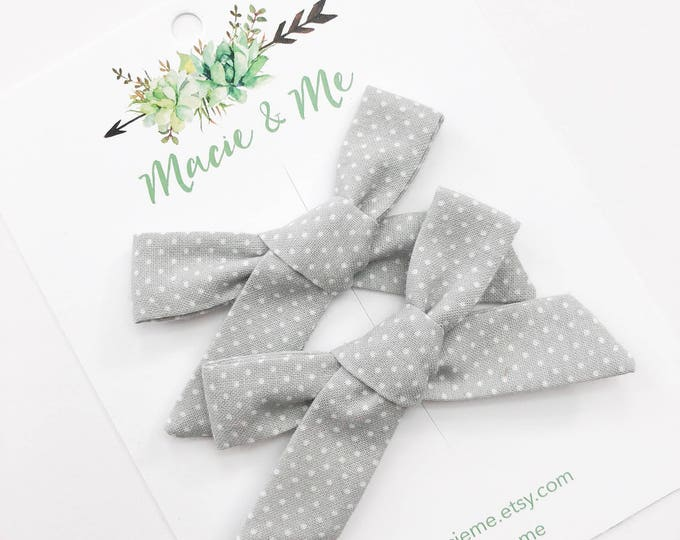 Grey and White Polka Dot Tied Bows
