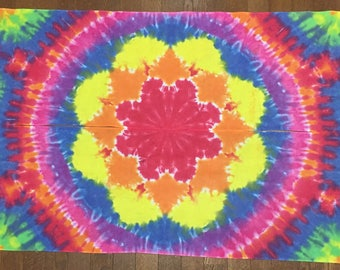 Mandala Tie Dye Tapestry Banners! Hand Dyed Cotton Sarashi, Hippie wall art decor, Rainbow Tie Dye art FREE SHIPPING!