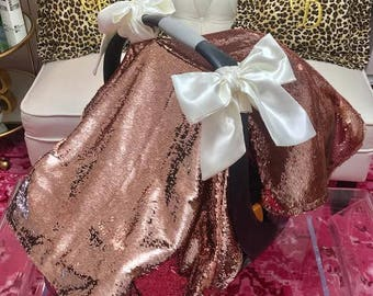 ALL NEW Luxury Sequin Canopy Blankets with Large Bows, Blush Pink Sequin Canopy Blanket Super Shiny Sequins!