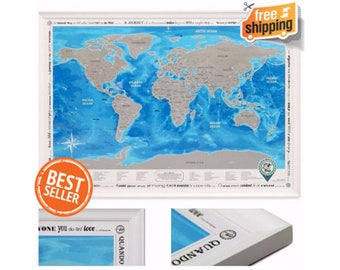"""Framed World Map with Scratch off. Silver Scratch. Special Stickers. ORIGINAL - from Manufacturer. Large Size 36.2x26"""". Superdetailed"""