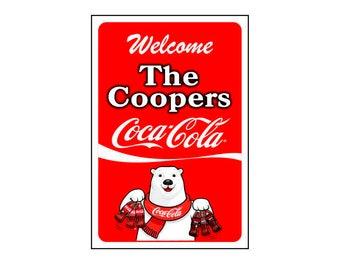 Coca Cola Sign/ Coca Cola Bear Sign -Add Name-