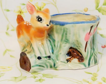 Deer Planter/Vintage Deer Planter/Bambi/Bambi Planter/Vintage Bambi/Japan/Scrub Pad Holder/Vintage Kitchen/Baby Fawn/Planter From Japan