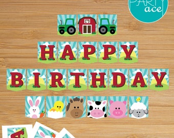 Farm Barn Animals Banner Printable Happy Birthday Decoration