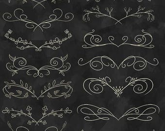 50% OFF Elegant Flourish Clipart - Wedding Download - Instant Download - Cream Colored Hand Drawn Flourish Download