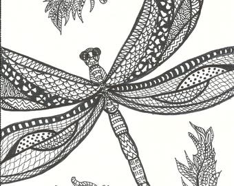 Dragonfly coloring Etsy