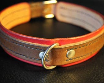 Leather Dog Collar Red and Brown