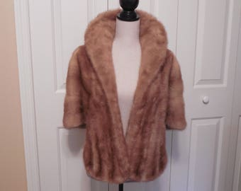 Vintage Blonde Mink Fur Stole Cape Wrap Shawl Jacket Coat Light Brown Full Fur Collar Both Sides Pockets By Hudson's The Woodward Shops