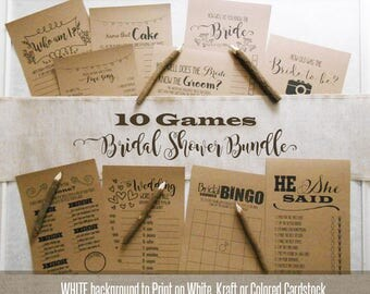 Bridal Shower Bundle, 10 Bridal Shower games, printable rustic games, fun and unique games, G101