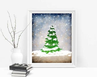 Winter Printable Art, Woodland Winter Rustic Christmas Decor, Winter Wall Art Holiday Printable