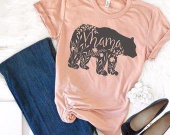 Mama bear shirt etsy mama bear shirt mama bear tshirt floral mama bear shirt pregnancy reveal shirts publicscrutiny Image collections