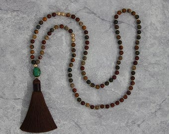 picasso jasper bead necklace green turquoise pendent necklace brown tassel long necklace picasso beads necklace turquoise necklace NL-057