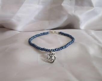 Blue Anchor Anklet