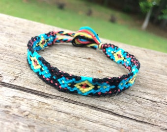 Bright Blue and Black Diamond Friendship Bracelet