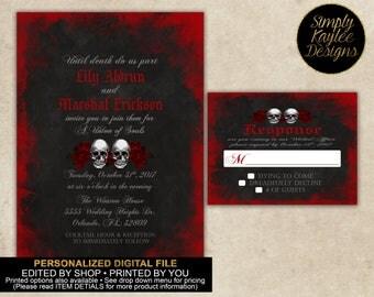 Black and Red Gothic Skull Wedding Invitation Set