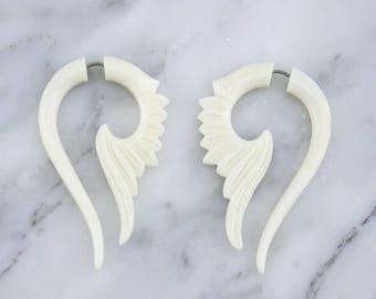 Tail WingFake Gauges Hanging Bone Earrings
