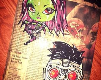 Gamora and Starlord hand painted skateboard