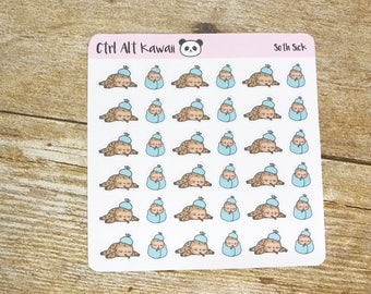 Seth the Sloth: Sick Planner Stickers