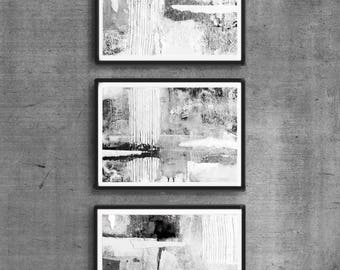Abstract Art Print Set, 3 Black Ink Abstract, digital downloads, Printable Abstract, instant download,  Art A4 size, black and white