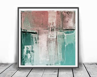 Digitat  abstract, contemporary art, scandinavian ,peach, PRINTABLE , Abstract art , blush pink and mint , wall decor, pink and teal,coral
