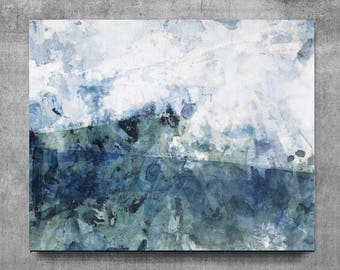 Home decor, medium painting, wall art, Landscape Painting, Contemporary Art, Watercolor art, original painting, teal and blue white