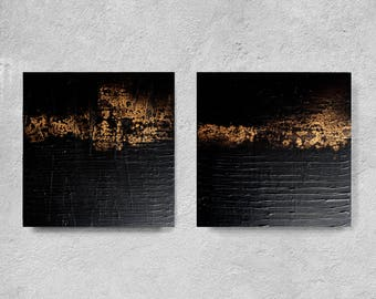 set of 2, Original Art, Black decor , wall hanging, custom word art, diptych black and old gold, acrylic painting, textured abstract