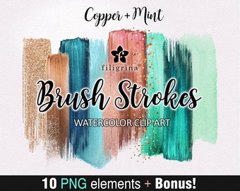 Copper Mint BRUSH STROKES Clip Art. 10 abstract fashion elements, bokeh, sparkles, paint texture, make up, cosmetics palette. Read about use