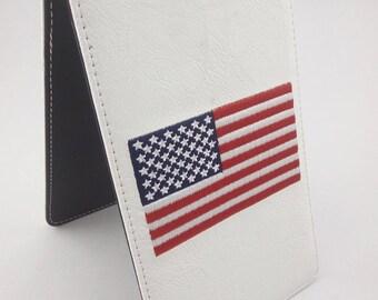 White USA Yardage Book/Scorecard Holder